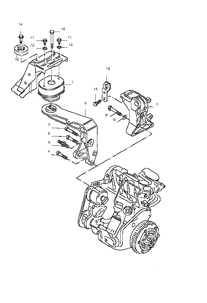 Diagram for Securing Parts for Engine